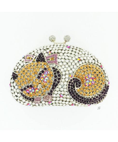 Cuddle Up Cat Crystal-Embellished Clutch