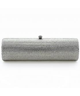 Crystal-Embellished Cylinder Evening Clutch