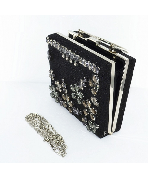 Shimmering Box Clutch With Relief Crystal