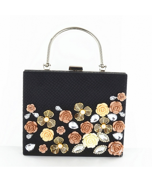 Box Clutch With Relief English Roses & Crystal