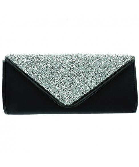 Shimmering Satin W Crystal Beaded Envelope Clutch