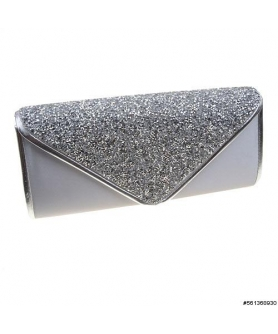 Shimmering Satin W Crystal Beaded Envelope Clutch