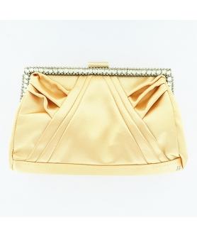 Elegan Crystal Frame Silk Like Stain Clutch