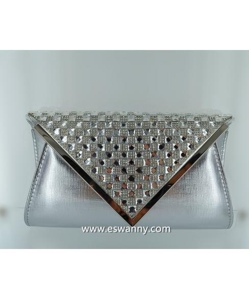 Embossed Vegan Leather Crystal Clutch