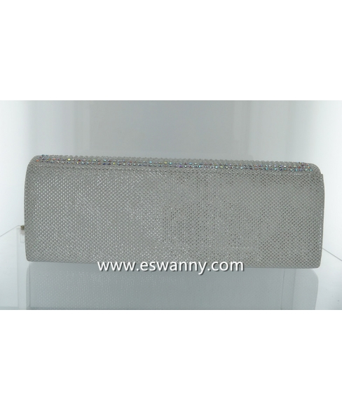 Shimmering Metallic Crystal Evening Clutch
