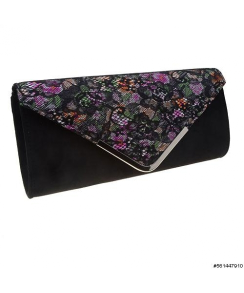 Lace Floral Suede Like Fabric Clutch