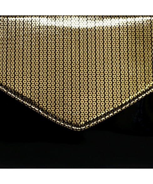 Metallic Faux Patent Leather Clutch