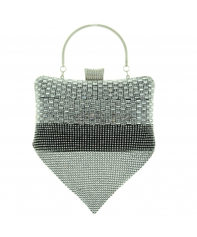 Crystal-dotted Drop Metal Mesh Clutch