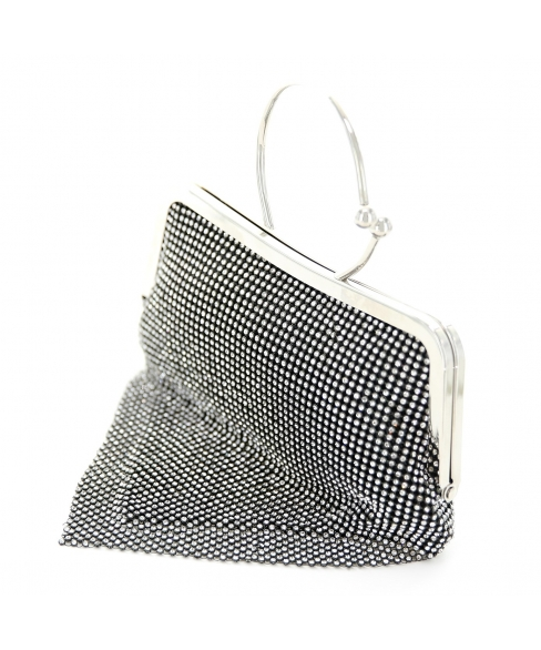 Ring Handle Rhinestone Clutch