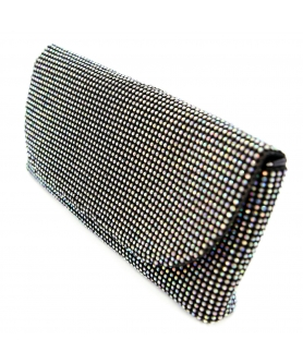 Crystal Mesh Clutch, Whit, White
