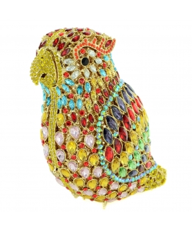 Crystal-Embellished Parrot Evening Clutch
