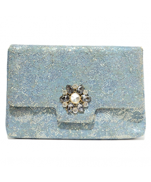 Crystal Buckle Glitter Lace Clutch