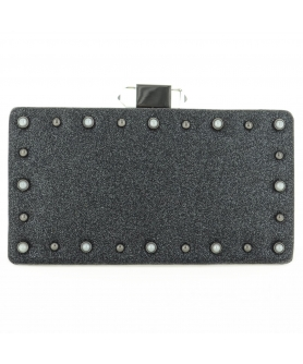Faux Pearls & Studs Box Clutch