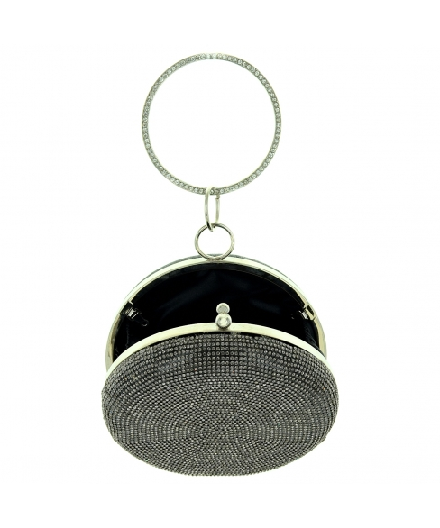 Ring Crystal Embellished Circle Clutch