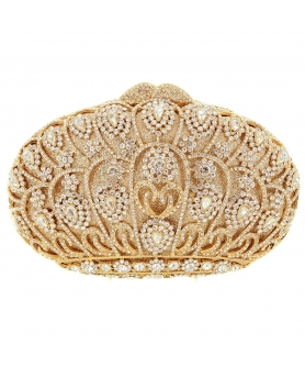Crystal-Embellished Crown Evening Clutch