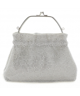 Women Rhinestone Crystal TopHandle Mesh Clutch Bag