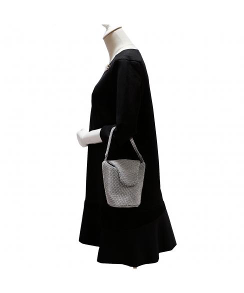 Top Handle Rhinestone Mesh Purse Bag