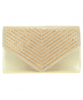 Crystal Embellished Metallic Clutch