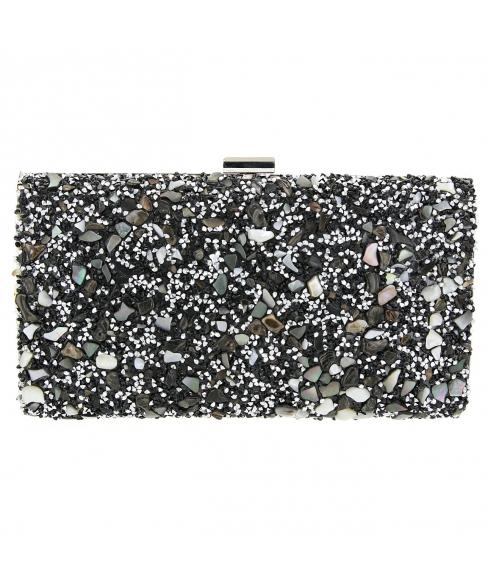 Glitter Crystal-Embellished Beaded Clutch