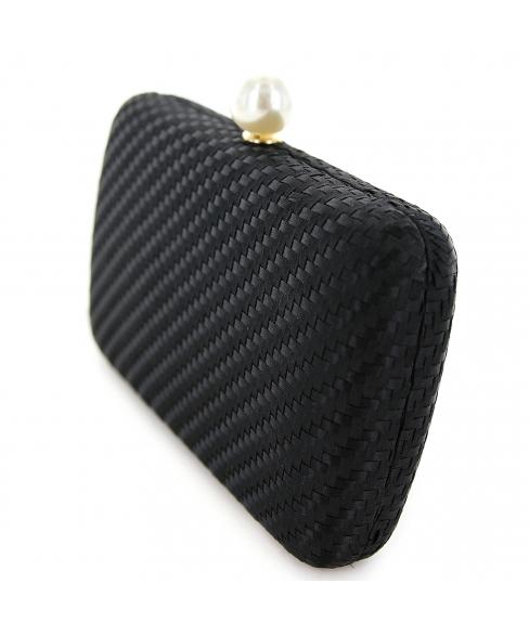 Pearl Top Weave Clutch Bag