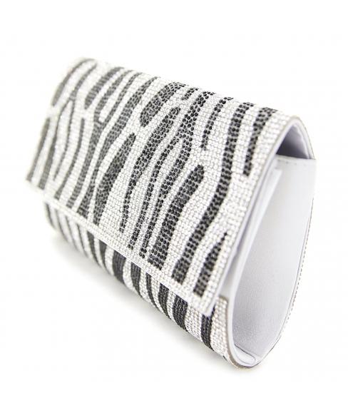 Crystal-Embellished Zebra Print Clutch