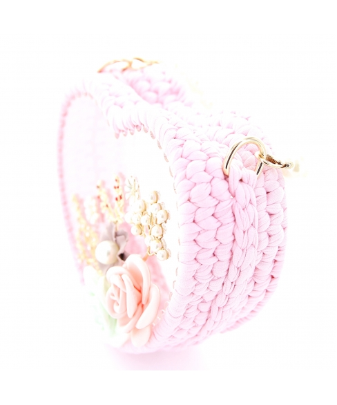 Pearl Handle Heart Clear Woven Frame Bag