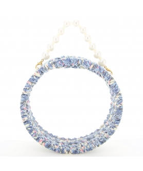 Pearl Handle Round Clear Woven Frame Bag