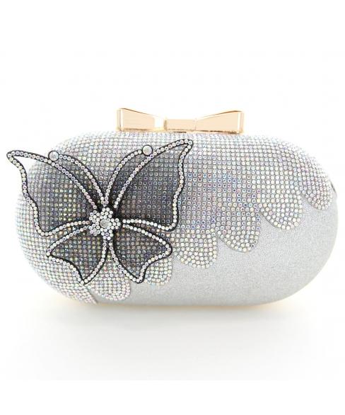 Rhinestone Embellished Butterfly Box Clutch Bag