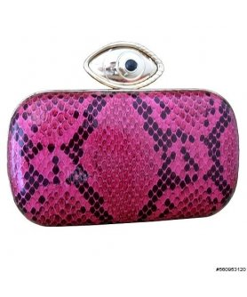 Evil Eye Metallic Snake-Embossed Clutch
