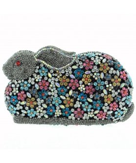 Crystal-Embellished Rabit Evening Clutch
