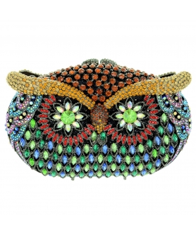Crystal-Embellished Owl Evening Clutch