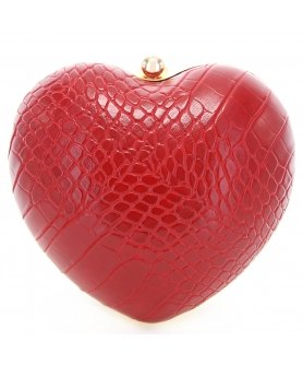 Croc Embossed Heart Vegan Leather Clutch