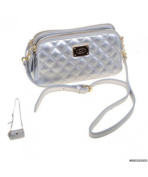 Double compartemet diamond quilting crossbody bag