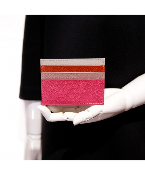 Pebbled Leather Mini Credit Card Holder